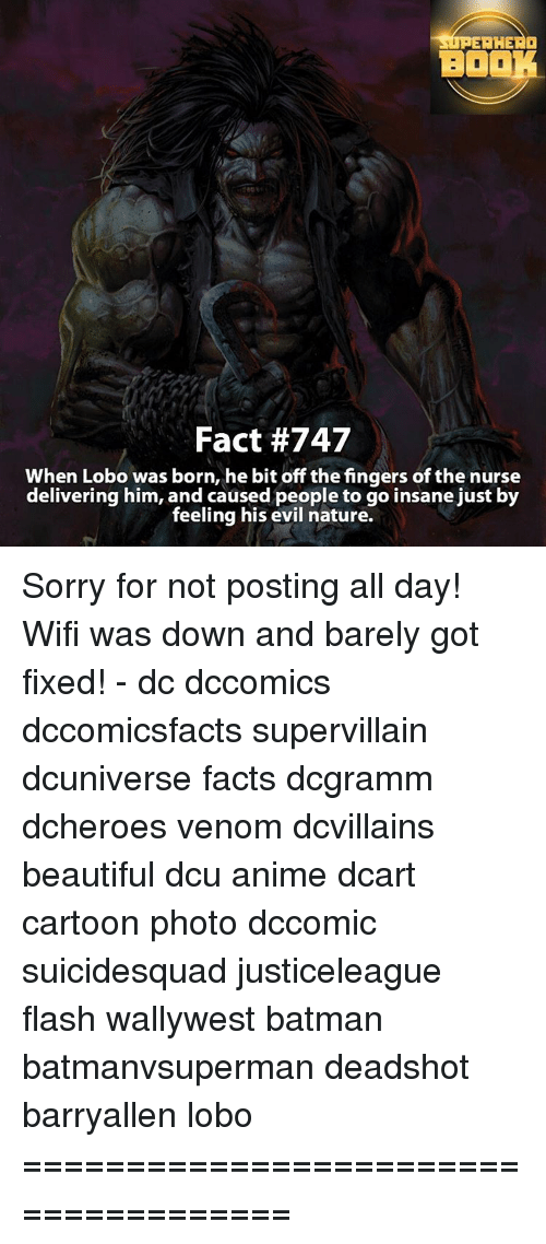 Going Insane: SUPERHERO  BOOK  Fact #747  When Lobo was born, he bit off the fingers of the nurse  delivering him, and caused people to go insane just by  feeling his evil nature. Sorry for not posting all day! Wifi was down and barely got fixed! - dc dccomics dccomicsfacts supervillain dcuniverse facts dcgramm dcheroes venom dcvillains beautiful dcu anime dcart cartoon photo dccomic suicidesquad justiceleague flash wallywest batman batmanvsuperman deadshot barryallen lobo =====================================