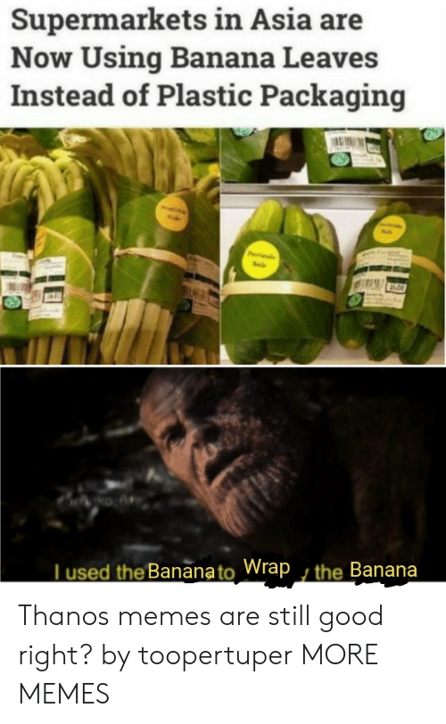 asia: Supermarkets in Asia are  Now Using Banana Leaves  Instead of Plastic Packaging  Pde  Sale  ko A  Tused the Bananato Wrap , the Banana Thanos memes are still good right? by toopertuper MORE MEMES