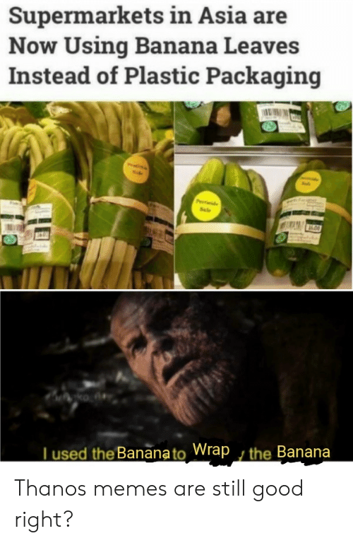 asia: Supermarkets in Asia are  Now Using Banana Leaves  Instead of Plastic Packaging  Pde  Sale  ko A  Tused the Bananato Wrap , the Banana Thanos memes are still good right?