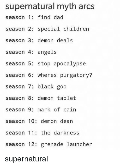 Season 6: supernatural myth arcs  season 1 find dad  season 2: special children  season 3: demon deals  season 4: angels  season 5: stop apocalypse  season 6: wheres purgatory?  season 7: black goo  season 8: demon tablet  season 9 mark of cain  season 10: demon dean  season 11 the darkness  season 12: grenade launcher supernatural