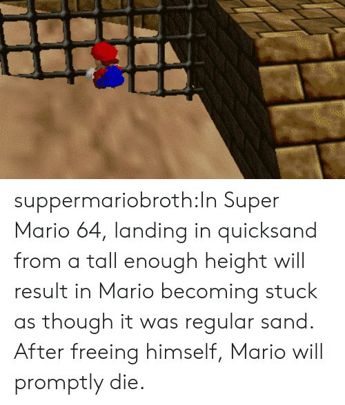 Super Mario, Tumblr, and Mario: suppermariobroth:In Super Mario 64, landing in quicksand from a tall enough height will result in Mario becoming stuck as though it was regular sand. After freeing himself, Mario will promptly die.