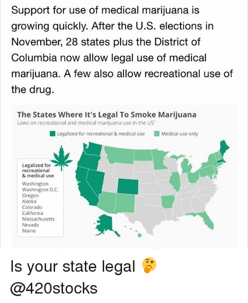 Weed, Alaska, and California: Support for use of medical marijuana is  growing quickly. After the U.S. elections in  November, 28 states plus the District of  Columbia now allow legal use of medical  marijuana. A few also allow recreational use of  the drug.  The States Where it's Legal To Smoke Marijuana  Laws on recreational and medical marijuana use in the US  Legalized for recreational & medical use Medical use only  Legalized for  recreational  & medical use  Washington  Washington D.C.  Oregon  Alaska  Colorado  California  Massachusetts  Nevada  Maine Is your state legal 🤔 @420stocks