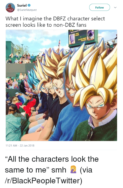 Blackpeopletwitter, Smh, and All The: Suriel  @SurielVazquez  Follow  What I imagine the DBFZ character select  screen looks like to non-DBZ fans  11:21 AM-22 Jan 2018 <p>&ldquo;All the characters look the same to me&rdquo; smh 🤦 (via /r/BlackPeopleTwitter)</p>
