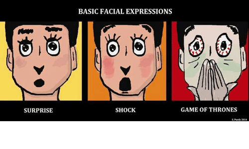 Memes, Express, and Game: SURPRISE  BASIC FACIAL EXPRESSIONS  SHOCK  GAME OF THRONES  S Purdy 2014