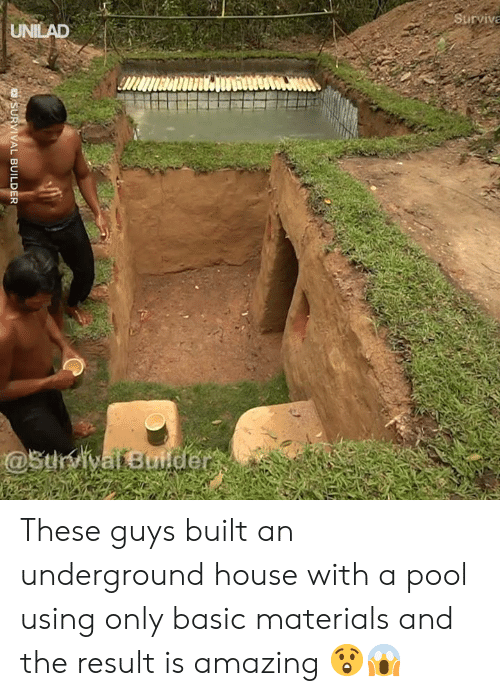 Dank, House, and Pool: Surviva  UNILAD  @StrvivafBuider  SURVIVAL BUILDER These guys built an underground house with a pool using only basic materials and the result is amazing 😲😱