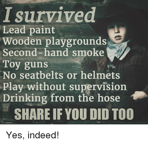 Guns, Memes, and Paintings: survived  Lead paint  Wooden playgrounds  Second-hand smoke  Toy guns  No seatbelts or helmets  Play without supervision  Drinking from the hose  SHARE IF YOU DID TOO Yes, indeed!