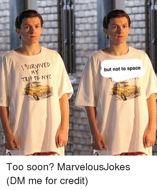 Memes, Soon..., and Space: SURVIVED  TRIP TO NY  but not to space Too soon? MarvelousJokes (DM me for credit)
