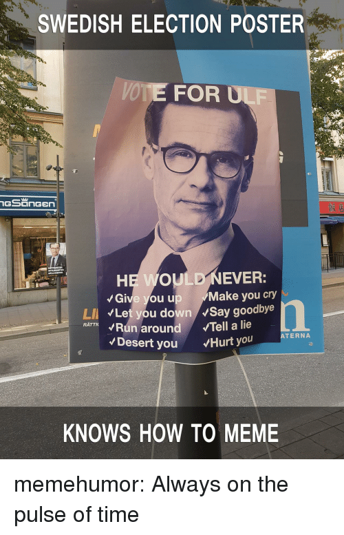 Meme, Tumblr, and Blog: SWEDISH ELECTION POSTER  VOTE FOR ULF  Give you up Make you cry  Let you down Say goodbye  LI  RATTKRun around Tell a lie  ATERNA  Desert you Hurt you  KNOWS HOW TO MEME memehumor:  Always on the pulse of time