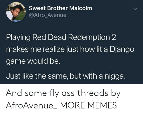 Ass, Dank, and Django: Sweet Brother Malcolm  @Afro_Avenue  Playing Red Dead Redemption 2  makes me realize just how lit a Django  game would be.  Just like the same, but with a nigga. And some fly ass threads by AfroAvenue_ MORE MEMES