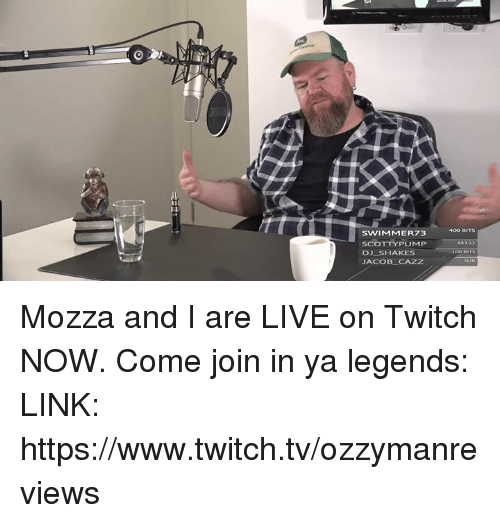 Anaconda, Memes, and Twitch: SWIMMER73  SCOTTYPUMP  DJ SHAKES  JACOB-CAZZ  100 BIT Mozza and I are LIVE on Twitch NOW. Come join in ya legends: LINK: https://www.twitch.tv/ozzymanreviews