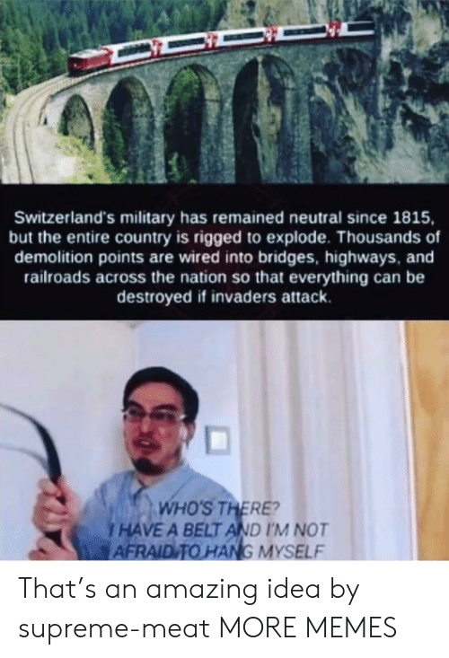 rigged: Switzerland's military has remained neutral since 1815,  but the entire country is rigged to explode. Thousands of  demolition points are wired into bridges, highways, and  railroads across the nation so that everything can be  destroyed if invaders attack.  WHO'S THERE?  HAVE A BELT AND I'M NOT  AFRAID TO HANG MYSELF That's an amazing idea by supreme-meat MORE MEMES