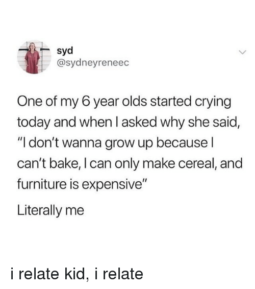 """Crying, Furniture, and Today: syd  @sydneyreneec  One of my 6 year olds started crying  today and when l asked why she said,  """"I don't wanna grow up because l  can't bake, I can only make cereal, and  furniture is expensive""""  Literally me i relate kid, i relate"""