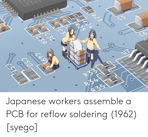 Japanese, Pcb, and For: @syego  835 Japanese workers assemble a PCB for reflow soldering (1962) [syego]