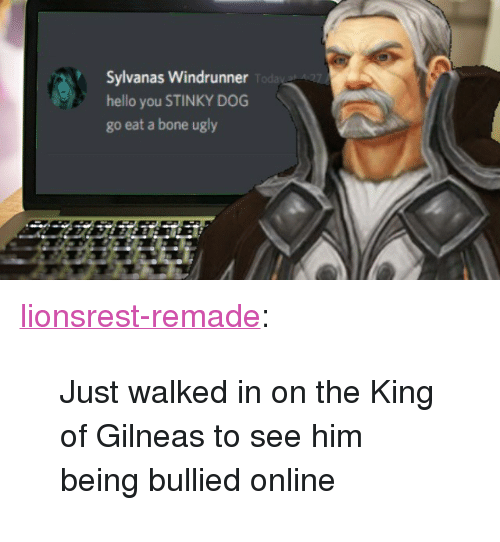 "Hello, Target, and Tumblr: Sylvanas Windrunner  hello you STINKY DOG  go eat a bone ugly <p><a href=""http://lionsrest-remade.tumblr.com/post/156928718956/just-walked-in-on-the-king-of-gilneas-to-see-him"" class=""tumblr_blog"" target=""_blank"">lionsrest-remade</a>:</p> <blockquote><p>Just walked in on the King of Gilneas to see him being bullied online</p></blockquote>"