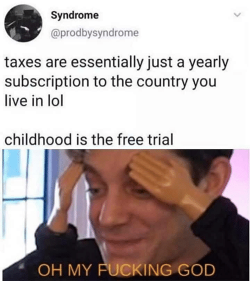 Fucking, God, and Lol: Syndrome  @prodbysyndrome  taxes are essentially just a yearly  subscription to the country you  live in lol  childhood is the free trial  OH MY FUCKING GOD
