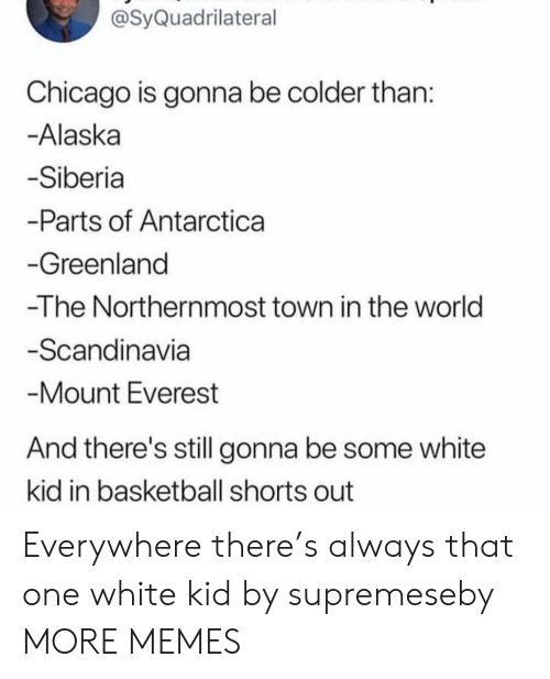 white kid: @SyQuadrilateral  Chicago is gonna be colder than  Alaska  Siberia  -Parts of Antarctica  Greenland  -The Northernmost town in the world  Scandinavia  Mount Everest  And there's still gonna be some white  kid in basketball shorts out Everywhere there's always that one white kid by supremeseby MORE MEMES