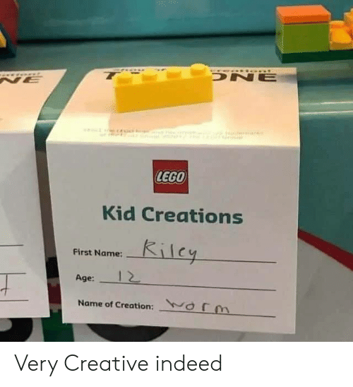 creations: t  0a  DNE  NE  LEGO  Kid Creations  Kilcy  First Name:  Age:  Name of Creation: orm Very Creative indeed