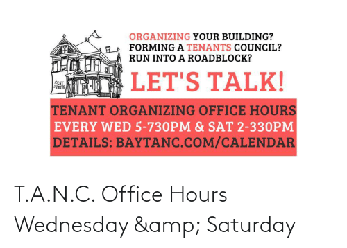 Office, Wednesday, and Amp: T.A.N.C. Office Hours Wednesday & Saturday