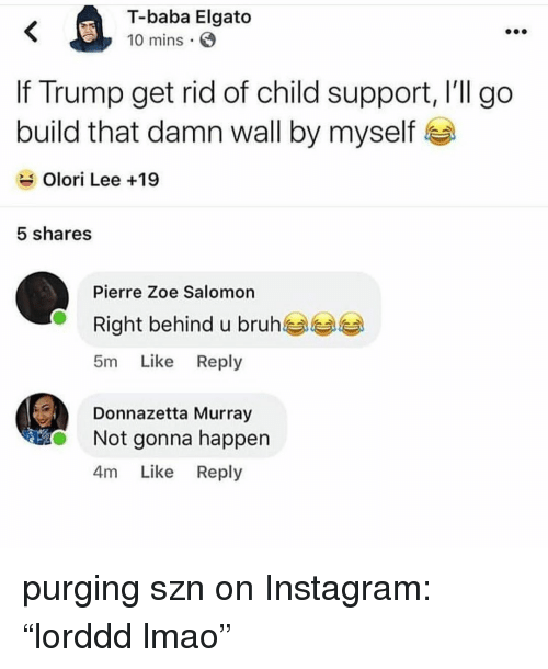 "Bruh, Child Support, and Instagram: T-baba Elgato  10 mins  If Trump get rid of child support, l'll go  build that damn wall by myself  Olori Lee +19  5 shares  Pierre Zoe Salomon  Right behind u bruh  5m Like Reply  Donnazetta Murray  Not gonna happen  4m Like Reply purging szn on Instagram: ""lorddd lmao"""
