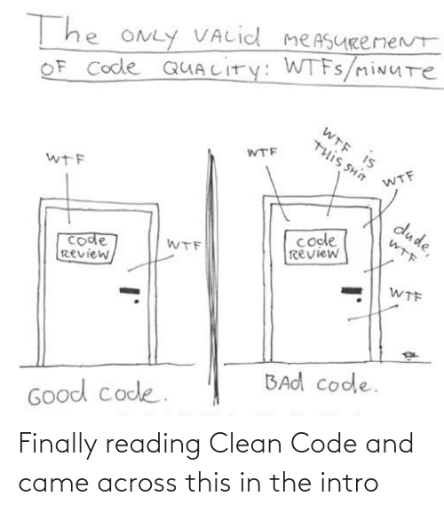 intro: T he ONLY VALid meASURemeNt  OF Code QUALITY: WTFS/miNUTe  WTE IS  WTF  U HS SI11L  WTF  wTF  dude,  code  review  WTF  code  Review,  WTF  WTF  BAd code.  Good code. Finally reading Clean Code and came across this in the intro