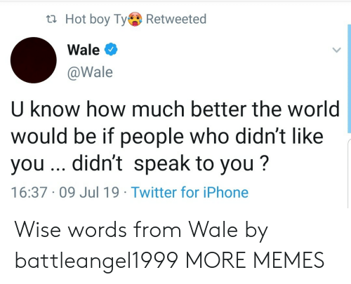 Dank, Iphone, and Memes: t Hot boy TyRetweeted  Wale  @Wale  U know how much better the world  would be if people who didn't like  you .. didn't speak to you?  16:37 09 Jul 19 Twitter for iPhone Wise words from Wale by battleangel1999 MORE MEMES