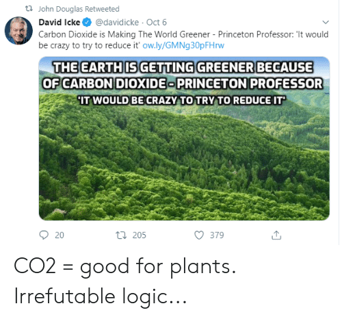 Crazy, Logic, and Good: t John Douglas Retweeted  @davidicke Oct 6  David Icke  Carbon Dioxide is Making The World Greener - Princeton Professor: 'It would  be crazy to try to reduce it' ow.ly/GMNg 30pFH rw  THE EARTHIS GETTING GREENER BECAUSE  OF CARBON DIOXIDE PRINCETON PROFESSOR  IT WOULD BECRAZY TO TRY TO REDUCE IT  t 205  20  379 CO2 = good for plants. Irrefutable logic...