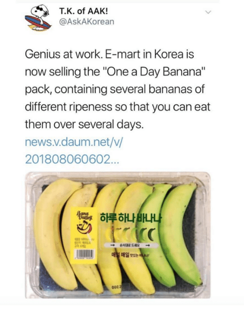 """News, Work, and Banana: T.K. of AAK!  @AskAKorean  Genius at work. E-mart in Korea is  now selling the """"One a Day Banana""""  pack, containing several bananas of  different ripeness so that you can eat  them over several days.  news.v.daum.net/v  201808060602…  하루하나BHA  매일 Tse  060"""