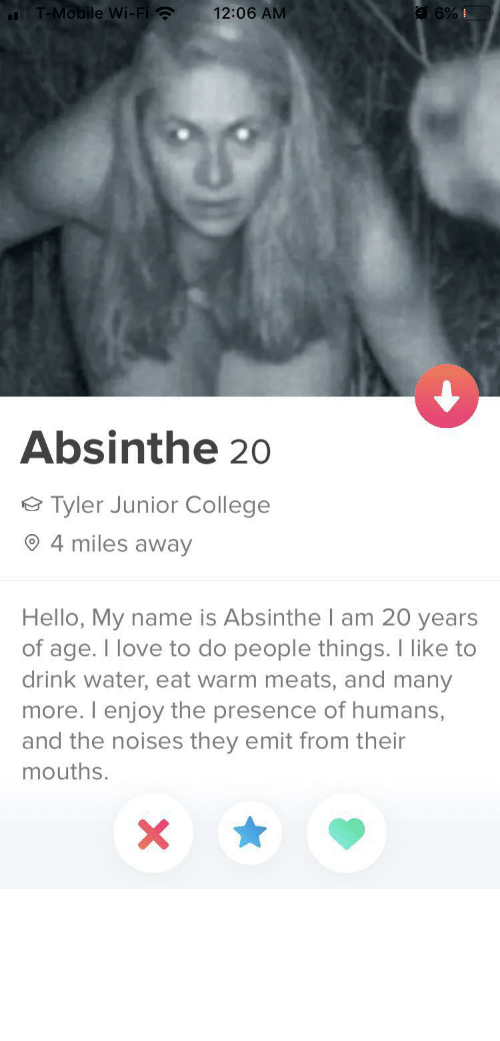 What Is: T-Mobile Wi-Fi ?  12:06 AM  Absinthe 20  Tyler Junior College  4 miles away  Hello, My name is Absinthe I am 20 years  of age. I love to do people things. I like to  drink water, eat warm meats, and many  more. I enjoy the presence of humans,  and the noises they emit from their  mouths. tinderventure:  If this ain't wife material then idk what is