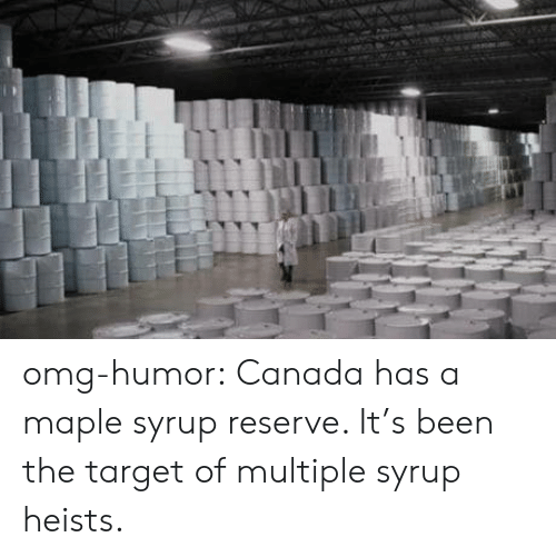 maple: T omg-humor:  Canada has a maple syrup reserve. It's been the target of multiple syrup heists.