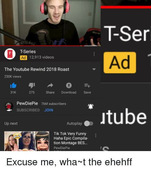 Image of: Pewdiepie Funny Roast And Videos Tser Ad Tseries Ad 12913 Know Your Meme Tser Ad Tseries Ad 12913 Videos The Youtube Rewind 2018 Roast 230k