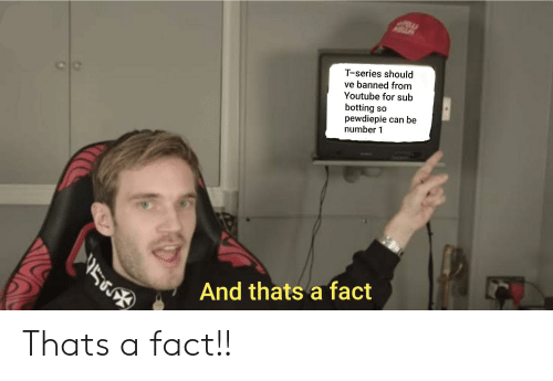 Botting: T-series should  ve banned from  Youtube for sub  botting so  pewdiepie can be  number 1  And thats a fact Thats a fact!!