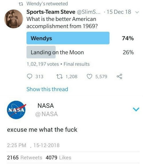 slim: t Wendy's retweeted  Sports-Team Steve @Slim... 15 Dec 18  What is the better American  accomplishment from 1969?  Wendys  74%  Landing on the Moon  26%  1,02,197 votes  Final results  1,208  313  5,579  Show this thread  NASA  NASA  @NASA  excuse me what the fuck  2:25 PM 15-12-2018  2165 Retweets 4079 Likes