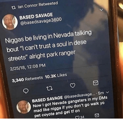 """gangsters: t2 lan Connor Retweeted  BASED SAVAGE  @basedsavage3600  Niggas be living in Nevada talking  bout """"I can't trust a soul in dese  streets"""" alright park ranger  2/25/18, 12:08 PM  3,340 Retweets 10.3K Likes  BASED SAVAGE @basedsavage... . 5m v  Now I got Nevada gangsters in my DMs  mad like nigga  pet coyote and get tf on  if you don't go walk yo  234"""