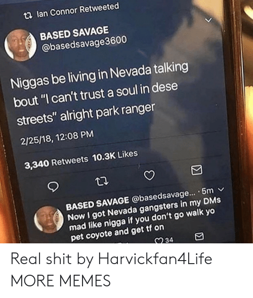 """Dank, Memes, and Savage: t2 lan Connor Retweeted  BASED SAVAGE  @basedsavage3600  Niggas be living in Nevada talking  bout """"I can't trust a soul in dese  streets"""" alright park ranger  2/25/18, 12:08 PM  3,340 Retweets 10.3K Likes  BASED SAVAGE @basedsavage... . 5m v  Now I got Nevada gangsters in my DMs  mad like nigga  pet coyote and get tf on  if you don't go walk yo  234 Real shit by Harvickfan4Life MORE MEMES"""