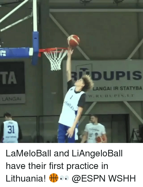 Espn, Memes, and Wshh: TA  DUPIS  LANGAI IR STATYBA  LANGA  31 LaMeloBall and LiAngeloBall have their first practice in Lithuania! 🏀👀 @ESPN WSHH