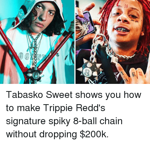 How To, How, and 8 Ball: Tabasko Sweet shows you how to make Trippie Redd's signature spiky 8-ball chain without dropping $200k.