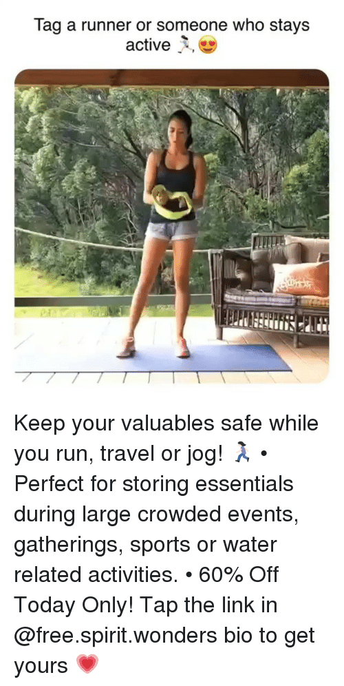 Run, Sports, and Free: Tag a runner or someone who stays Keep your valuables safe while you run, travel or jog! 🏃🏻♀️ • Perfect for storing essentials during large crowded events, gatherings, sports or water related activities. • 60% Off Today Only! Tap the link in @free.spirit.wonders bio to get yours 💗