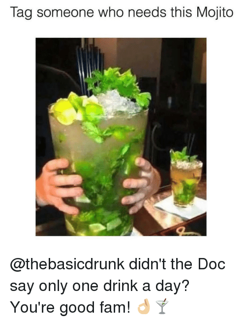 Fam, Memes, and Good: Tag someone who needs this Mojito @thebasicdrunk didn't the Doc say only one drink a day? You're good fam! 👌🏼🍸