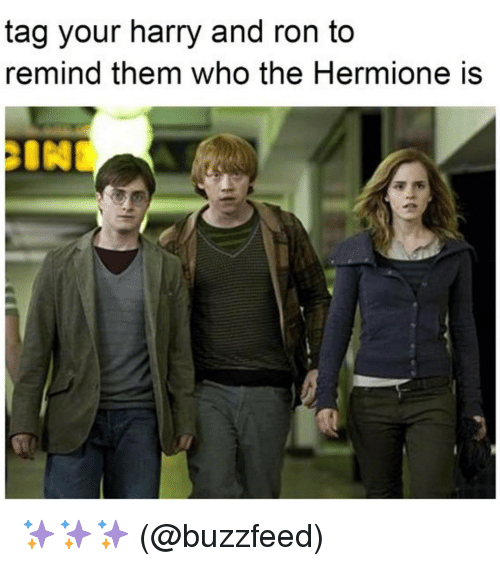 Memes, 🤖, and Harry: tag your harry and ron to  remind them who the Hermione is ✨✨✨ (@buzzfeed)