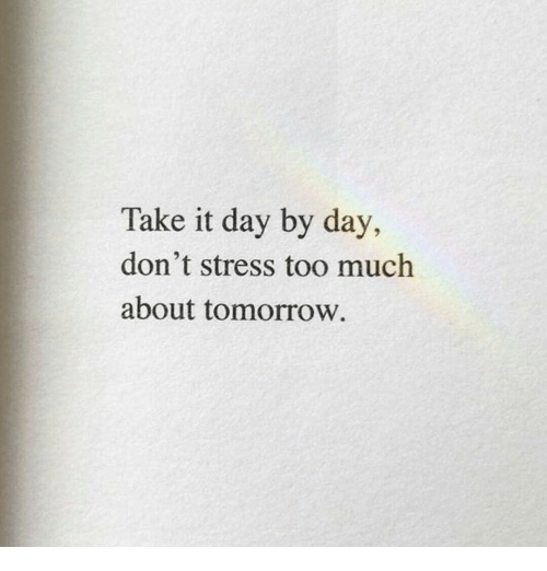 day by day: Take it day by day,  don't stress too much  about tomorrow.