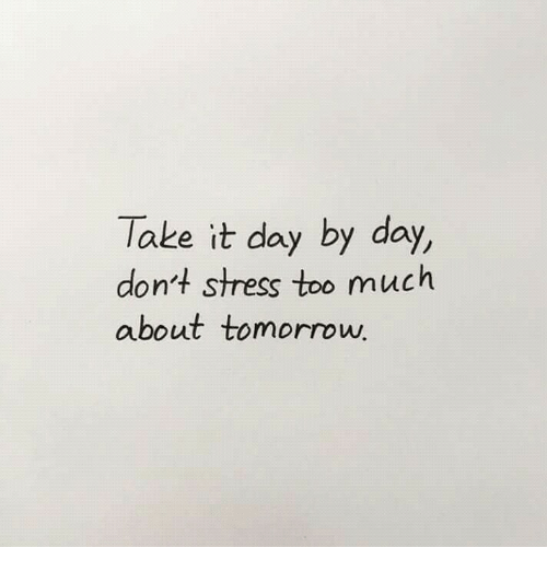 day by day: Take it day by day,  don't stress too much  about tomorrow