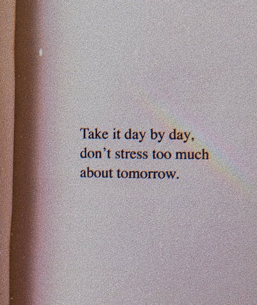 day by day: Take it day by day  don't stress too much  about tomorrow.