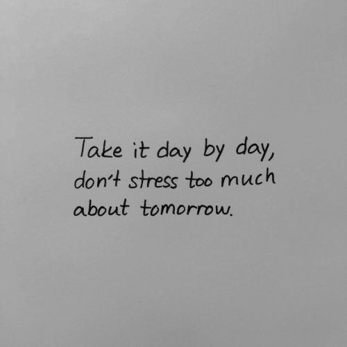 day by day: Take it day by day,  don't stress too much  about tomorroww