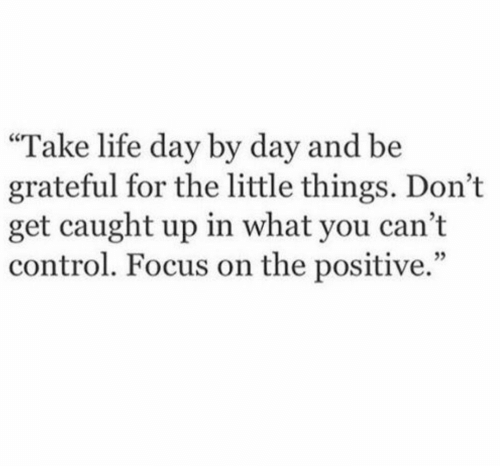 """day by day: """"Take life day by day and be  grateful for the little things. Don't  get caught up in what you cant  control. Focus on the positive."""""""