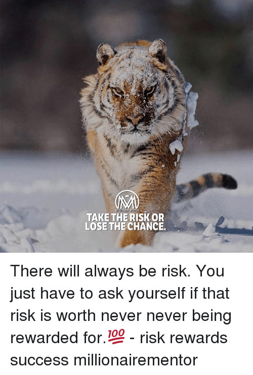 Memes, Never, and Success: TAKE THERISK OR  LOSE THE CHANCE. There will always be risk. You just have to ask yourself if that risk is worth never never being rewarded for.💯 - risk rewards success millionairementor