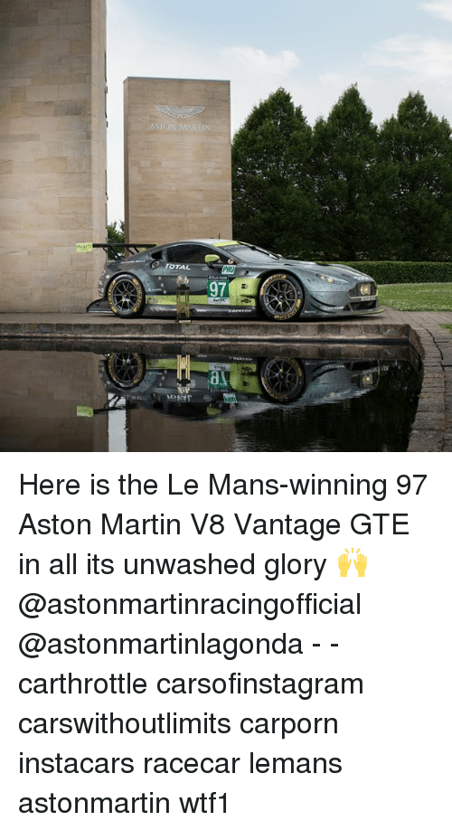 Aston Martin: TAL  97  al Here is the Le Mans-winning 97 Aston Martin V8 Vantage GTE in all its unwashed glory 🙌 @astonmartinracingofficial @astonmartinlagonda - - carthrottle carsofinstagram carswithoutlimits carporn instacars racecar lemans astonmartin wtf1
