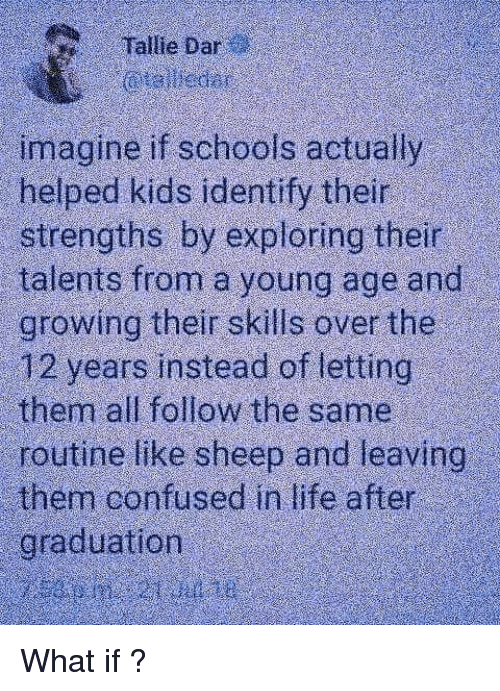 Confused, Life, and Memes: Tallie Dar  imagine if schools actually  helped kids identify their  strengths by exploring their  talents from a young age and  growing their skills over the  12 years instead of letting  them all follow the same  routine like sheep and leaving  them confused in life after  graduation What if ?