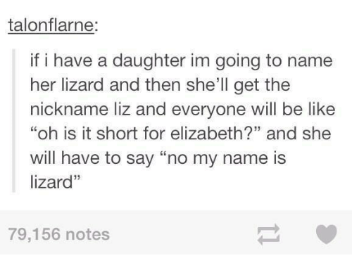 "Dank, 🤖, and Shell: talon flarne:  if i have a daughter im going to name  her lizard and then she'll get the  nickname liz and everyone will be like  ""oh is it short for elizabeth?"" and she  will have to say ""no my name is  lizard''  79,156 notes"