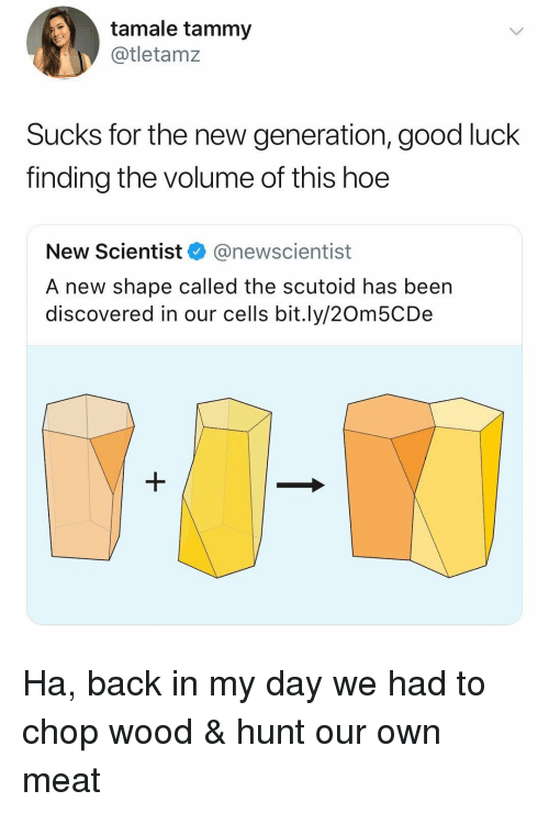Hoe, Good, and Tammy: tamale tammy  @tletamz  Sucks for the new generation, good luck  finding the volume of this hoe  New Scientist @newscientist  A new shape called the scutoid has been  discovered in our cells bit.ly/20m5CDe Ha, back in my day we had to chop wood & hunt our own meat