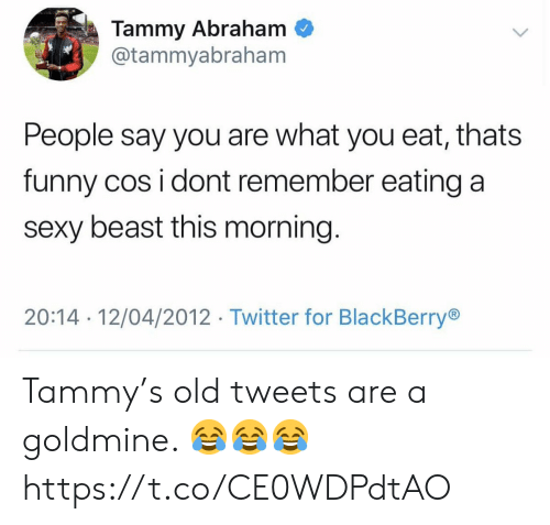 cos: Tammy Abraham  @tammyabraham  People say you are what you eat, thats  funny cos i dont remember eating a  sexy beast this morning.  20:14 12/04/2012 Twitter for BlackBerry Tammy's old tweets are a goldmine. 😂😂😂 https://t.co/CE0WDPdtAO